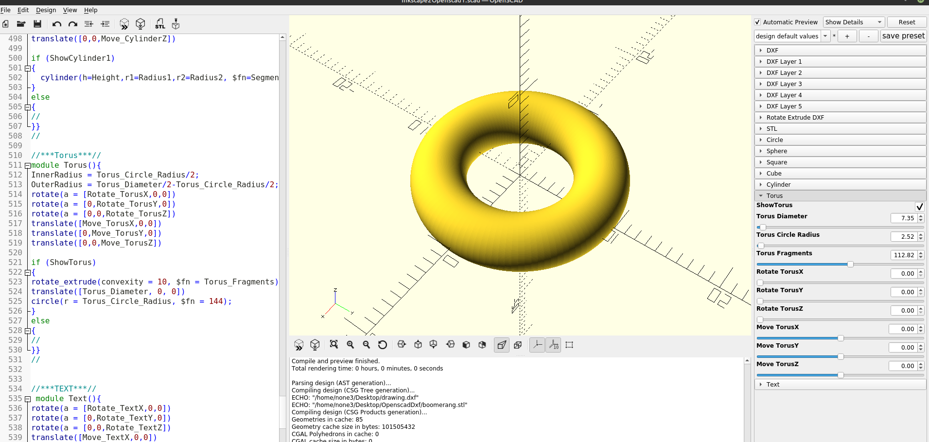 3D part design with Inkscape and Openscad Part 8: adding a Torus function