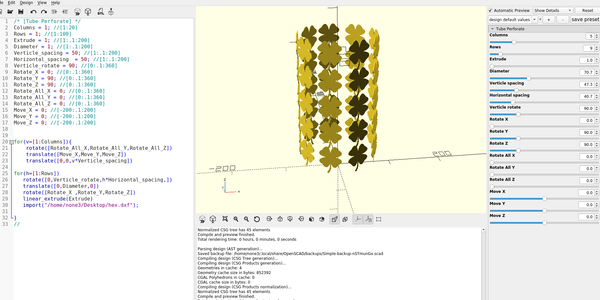 3D Part design with Inkscape and OpenScad part16: fun with for loops