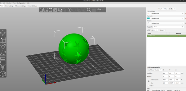 3D part design with Inkscape and OpenScad part18: hollow sphere + perforate